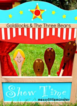 Goldilocks and the Three Bears Spoon puppets for pretend play